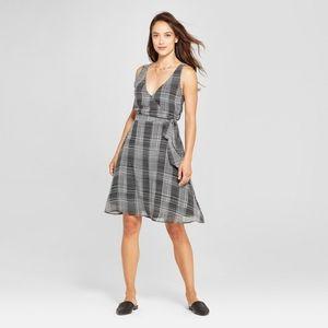 NEW Target A New Day Plaid Tie Waist Dress V-Neck